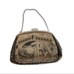 Vtg Marquise Tapestry Purse Venice Scene Handbag